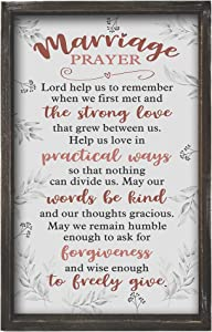 Buecasa Wood Farmhouse Marriage Prayer Inspirational Wall Art Frame - Rustic Christian Family Religious Home Decor Saying Lord Help Us to Remember When We First Met 16x9.5 Inches Vertical