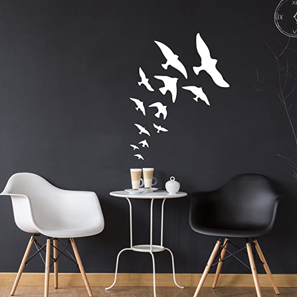 Set Of 12 Vinyl Wall Art Decal Birds 1 To 12 Each Bedroom Living Room Dorm Room Kids Room Apartment Stencil Adhesives Wall Decor Decals For All Ages 1 To 12 Each White