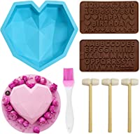 CONNOO Breakable Chocolate Heart Mold Tray 8.7 inch Diamond Big Heart /& 8 Cups Geometric Heart Mold with Silicone alphabet Letter Number Mold with Mini Wooden Hammers for Home Kitchen DIY Baking