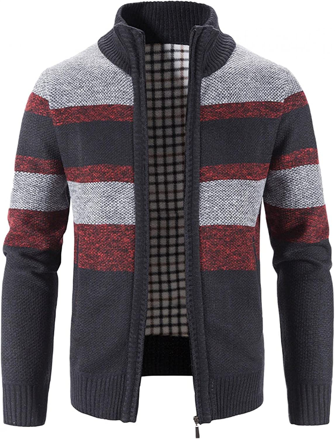 Men's Knit Jacket Coat Trench Cardigan Long Sleeve Outwear Blouse Block Stand Collar Warm Blouse