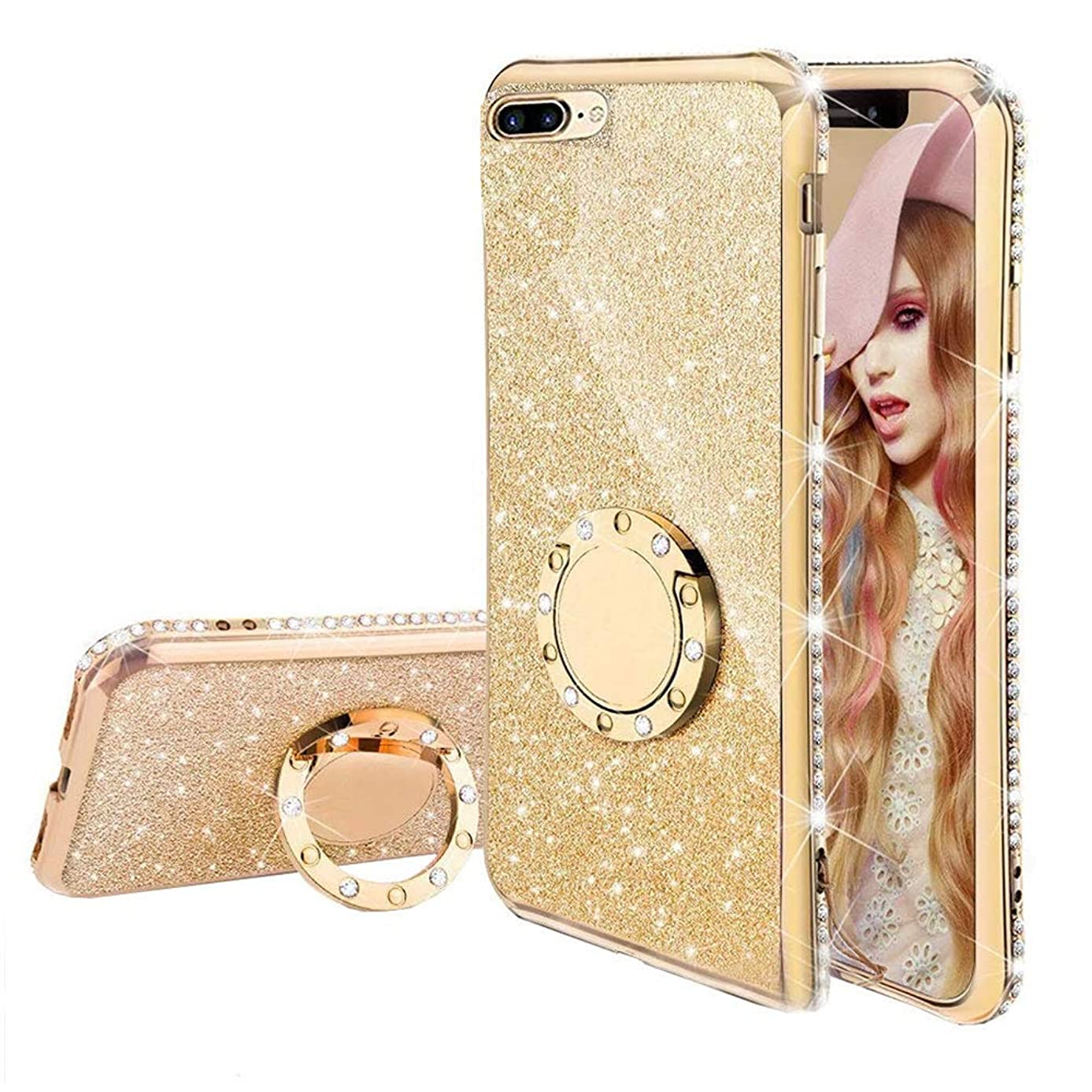 Miagon Bling Case for iPhone SE 5S 5,Shiny Sparkle Electroplated Diamond Frame Glitter Skin 360 Degree Ring Stand Silicone Bumper Protective Case Cover for iPhone SE 5S 5