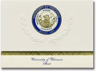 Signature Ankündigungen University of Wisconsin – Stout Graduation Ankündigungen, platin Stil, Elite Pack 20 mit u. der wisconsin-stout Dichtung Folie B0793M9PVJ  Personalisierungstrend
