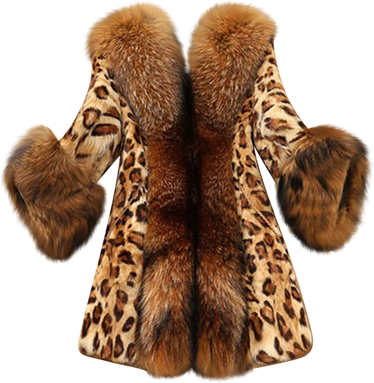 HGWXX7 Womens Jacket Plus Size Faux Fur Hood Lined Overcoat Long Sleeve Vintage Leopard Print Oversized Winter Coats Brown