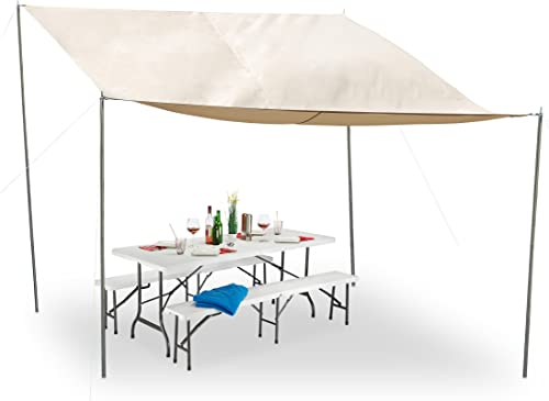 Relaxdays Voile d'ombrage rectangulaire, Piquets Sol, Cordes, Imperméable, Prougeection UV, Polyester, 3x4m, Beige