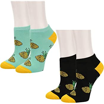 Adult Blue Pineapple Pattern Cushion Ankle Socks