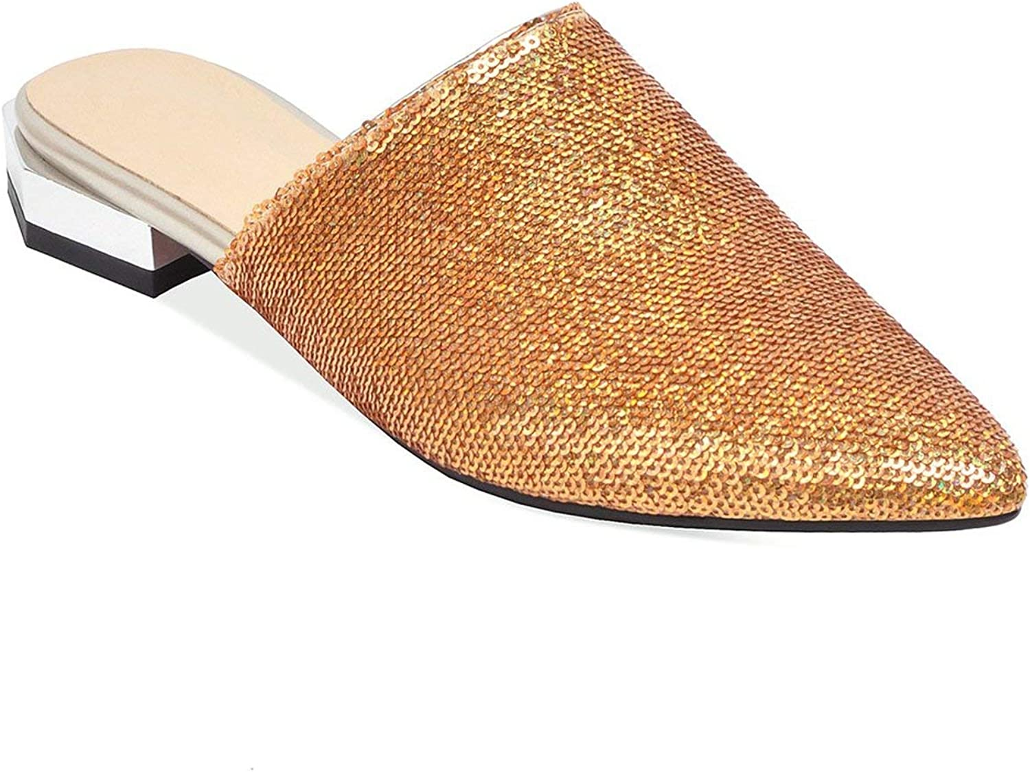 The rest of my life gold Mules shoes Women Bling Slippers Pointed Toe Sequined Cloth Flat Loafers Shiny Women shoes Size 45 46 47 48
