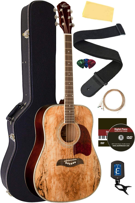 Oscar Schmidt OG2SM Spalted Maple Guitar Credence Dreadnought Bu Acoustic Minneapolis Mall