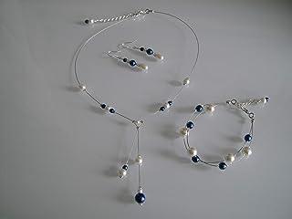 e5126936a6de5 Parure bijoux Femme Mariée Mariage Ivoire/Blanc/Bleu Marine/Foncé/Roi Royal