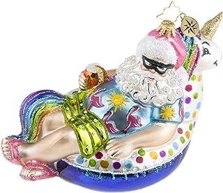 Christopher Radko Floating Through The Holidays Pool Themed Glass Santa Ornament