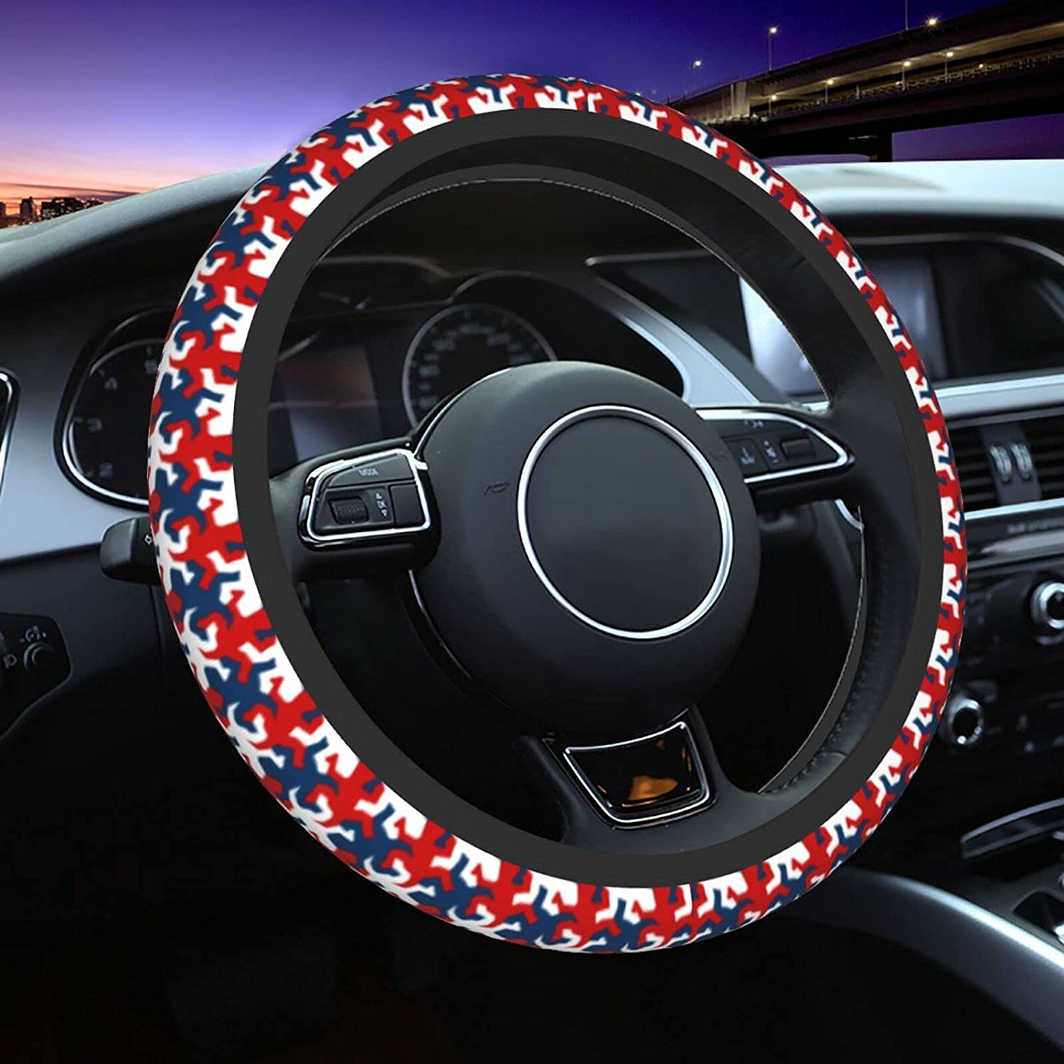 Direct store Red And White Lizards New arrival Silhouette Wheel Car Unive Steering Cover