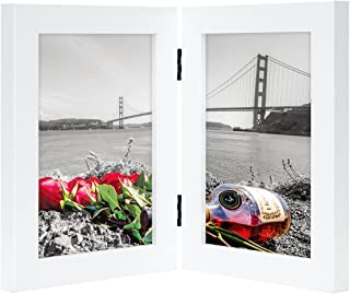 Frametory, 5x7 Inch Hinged Picture Frame with Glass Front - Made to Display Two 5x7 Inch Pictures, Stands Vertically on Desktop or Table Top (5x7-2, White)