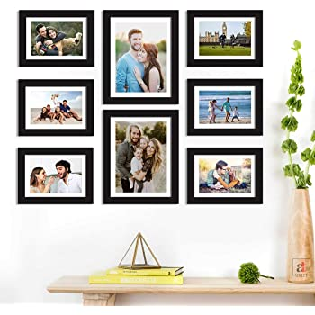 Art Street Set of 8 Black Wall Photo Frame, Picture Frame for Home Decor with Free Hanging Accessories-Size-6x8, 8x10 inchs