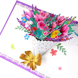 Elizand 3D Pop up Flower Bouquet Greeting Card - Blank Card, Anniversary, Valentine's Day, Christmas Card, Wedding or Part...