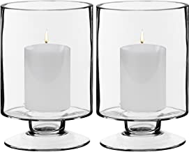 CYS EXCEL Glass Candle Holders, Hurricanes Candle Holders, Stemmed Candle Holders. Candle Holders Pack of 2