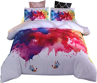 YOUSA Abstract Bedding Set Vibrant Stains of Watercolor Paint Splatters Brushstrokes Dripping Liquid Art Bed Cover Set (Full,White)