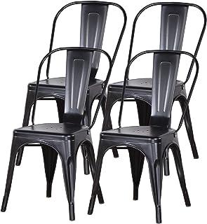 Uderkiny Lot de 4 chaises de Salle à Manger empilables Chaises en métal de Style Industriel, adaptées aux chaises de Balco...