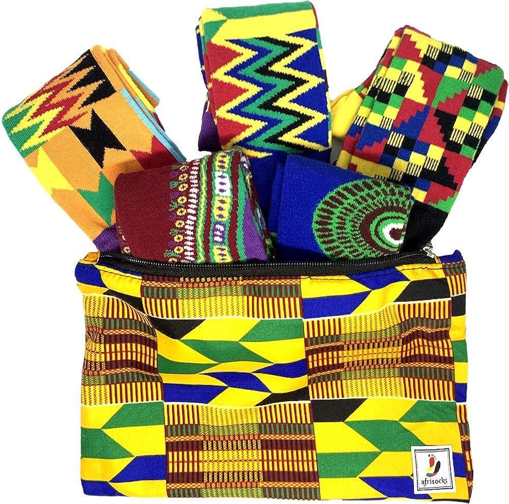 Afrisocks 5-pair set Kente, Ankara, African Wax Print socks