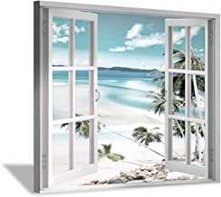 """Coastal Pictures Beach Wall Art - Ocean Painting Print on Canvas Artwork for Wall 16""""x12""""x1 panel"""