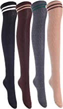 Lian LifeStyle Women's 4 Pairs Adorable, and Ultra-Soft Thigh High Cotton Socks Size 6-9 LW1023 (Black,Coffee,DarkGrey,Khaki)