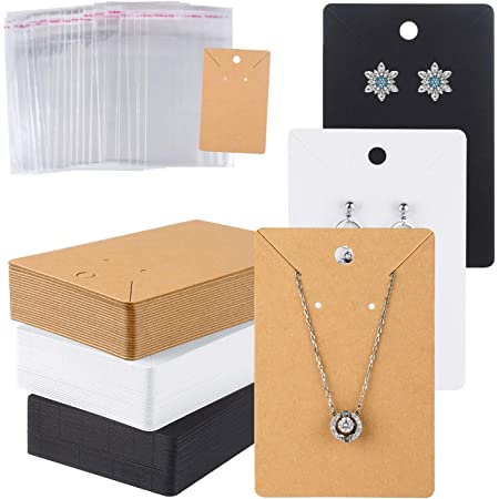 Earring Display Cards for Ear Studs for DIY DaNaRaa 200 Pcs Earrings Display Card and Clear Self-Seal Bags Black
