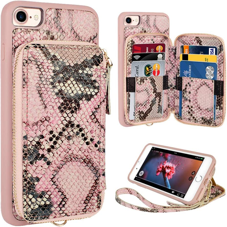 iPhone 8 Wallet Case,iPhone 7 case,ZVE iPhone 8 Case with Credit Card Holder Slot Wrist Strap Protective Handbag Purse Zipper Wallet Case for Apple iPhone 8/7/SE(2020),4.7 inch - Pink Snake Skin