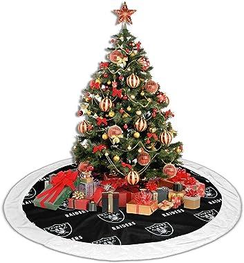 Oakland Raiders Christmas Tree Skirt Multi-Size Christmas Tree Skirt, Used for Indoor and Outdoor Christmas Decorations (White Fluff)