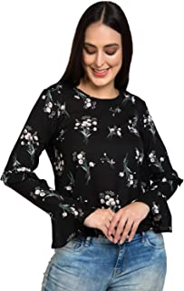Baezil Printed Layered Style Sleeves Top|T-Shirt |Regular Fit/Comfortable/Fancy & Styllish Outfit for Women/Girls (Black-L...