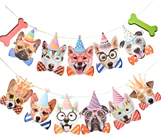 Dog Face Birthday Banner for Kids Dog Bday Supplies Puppy Animal Theme Pet Happy Birthday Wall Decorations Baby Shower Bunting Garland Photo Prop Decor