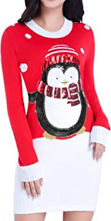 Women Christmas Sweater, Ugly Ladies Cute Bear Xmas Knit Sweater Dress