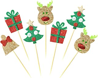 ALISSAR 28-Pack Christmas Cupcake Toppers Picks, Glitter Cake Toppers Home Party Decor Christmas Party Supplies Favors