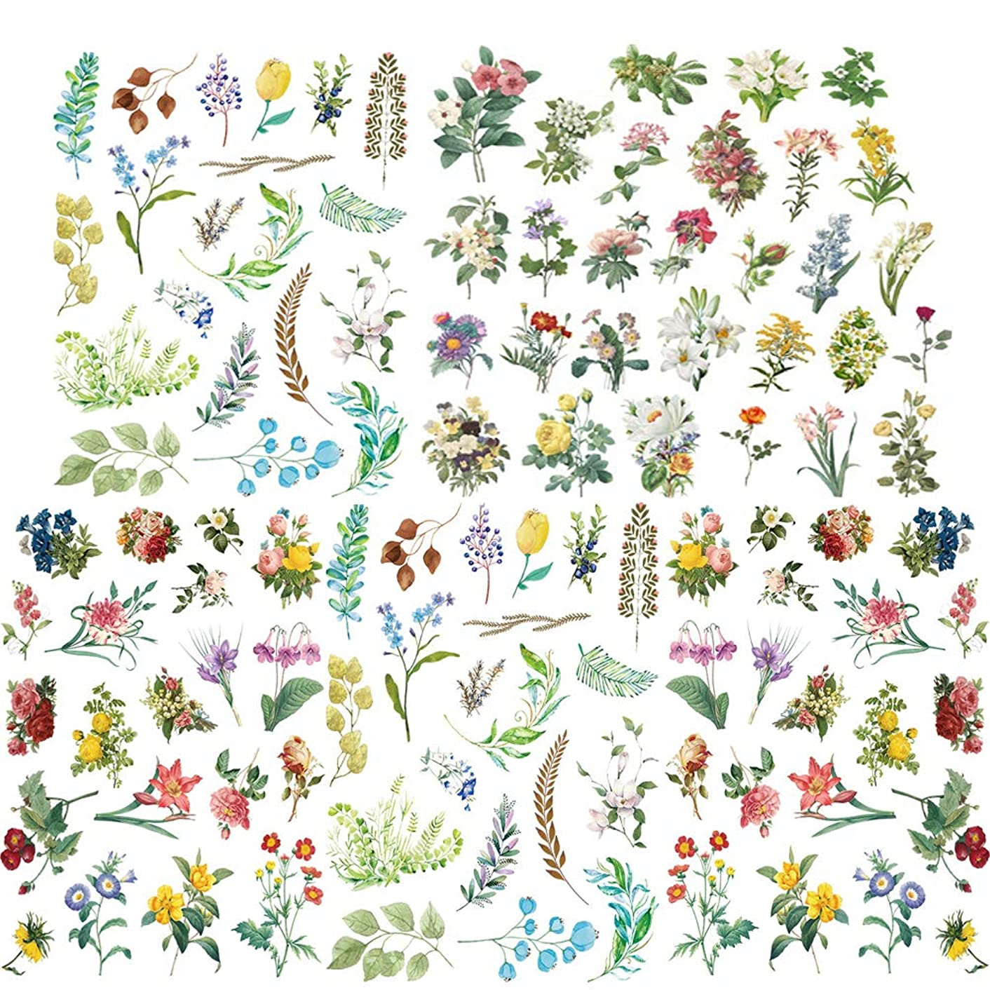 Jelacy Cute Flowers Stickers, Green Plant Leaves Flowers Stickers Set for DIY Arts and Decal Stickers Crafts,Laptop Stickers,Scrapbook Stickers,Scrapbook, Diary, Kid Craft [140PCS]