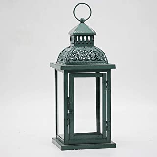 Decorative Candle Lantern, 13.3-inch Antique Green Home Decoration Metal Lantern for Wedding Patio, Party,Outdoor Decorati...