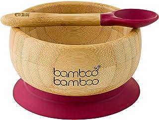 bamboo bamboo Baby Suction Bowls and Matching Spoon Set, Stay Put Feeding Bowl, Natural