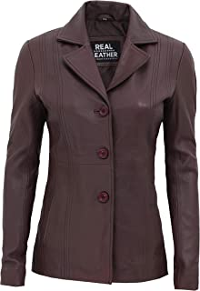 Brown Leather Jacket Women - Long Real Lambskin Brown Blazer for Women