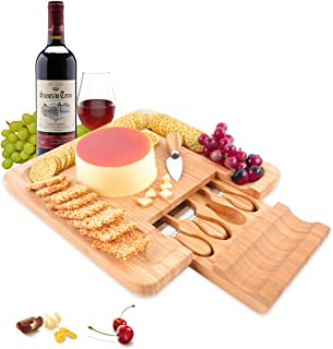 PURENJOY Bamboo Cheese Board with Stainless Steel Serving Utensils Set,Wooden Charcuterie Platter Serving Tray for Birthday, Wedding,Party,Gift (Original, 12.9