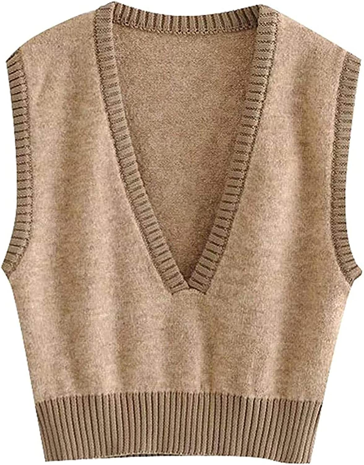 Cash special price Women Sales of SALE items from new works Fashion Deep V Neck Vintage Cropped Vest Sweater Sleeveles