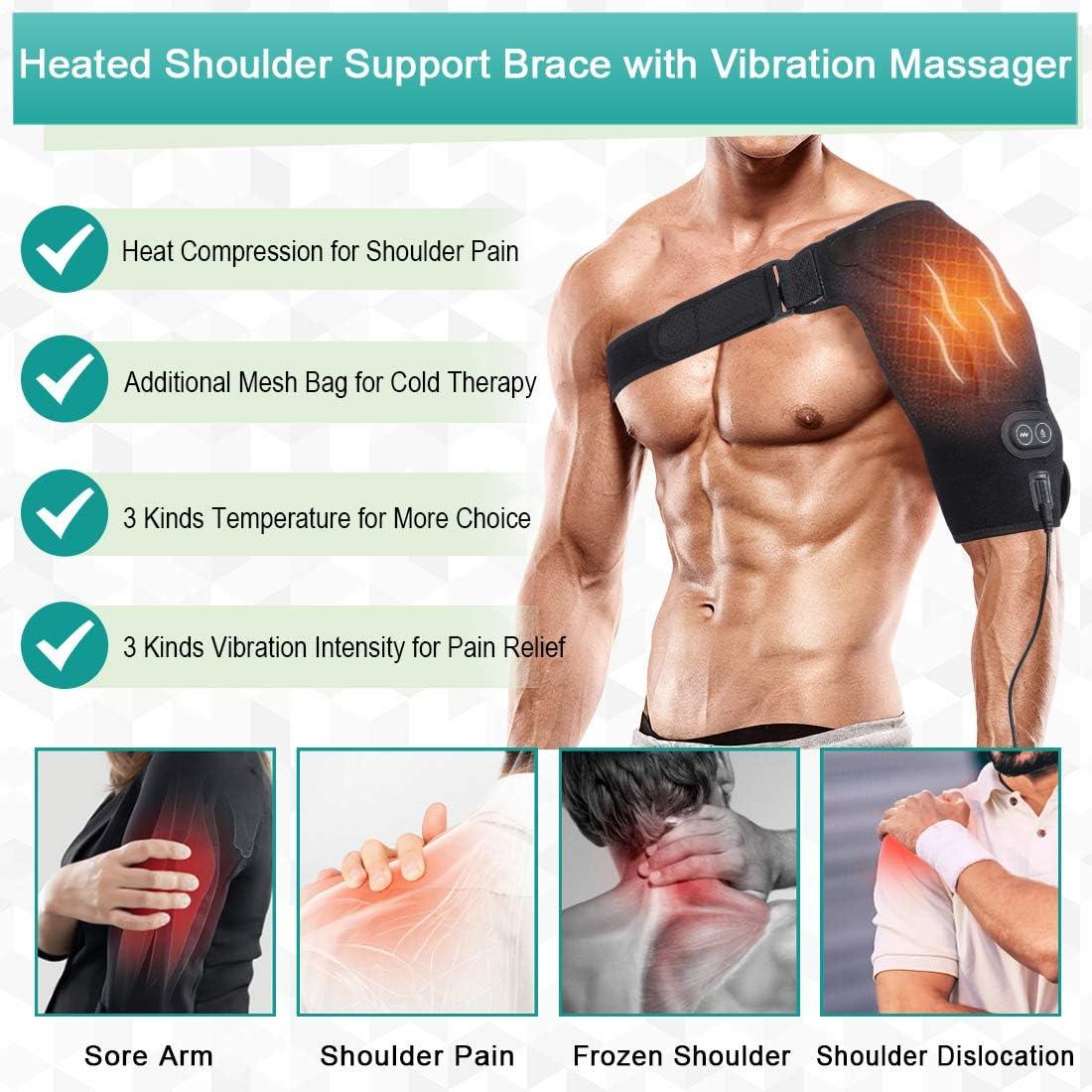 Dislocazione delle Spalle L Unisex Tutore Spalla per Massaggio Riscaldante Aiuta Stabilit/à con 3 Impostazioni di Vibrazione e Temperatura per le Lesioni della Cuffia dei Rotatori Tendinite