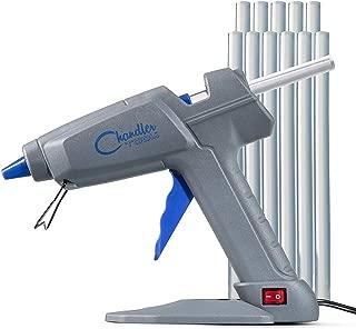 "Chandler Tool Hot Glue Gun - 100 Watt Industrial Full Size High Temp Heavy Duty Hot Melt Glue Gun Kit with 10 Pcs Glue Sticks & Patented ""Stand-Up"" Base Stand, for Arts & Crafts, DIY, Repairs & More"