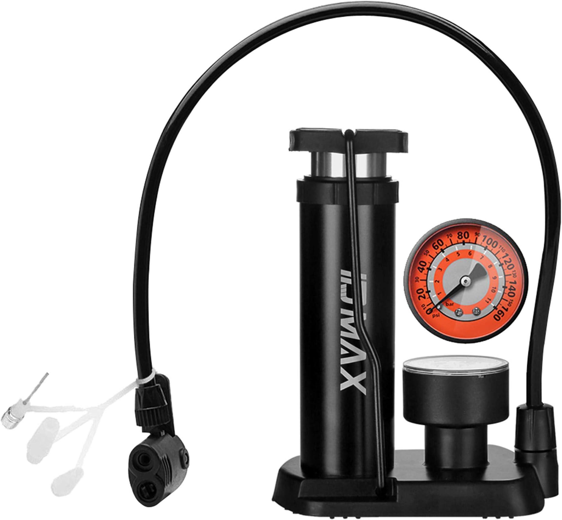 Bicycle Hand Air Pump Mini Tyre Bike Cycle Presta Shrader Valve+Pressure Gauge