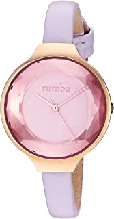RumbaTime Women's 'Orchard Gem Leather' Quartz Stainless Steel Casual Watch, Color:Purple (Model: 27556)