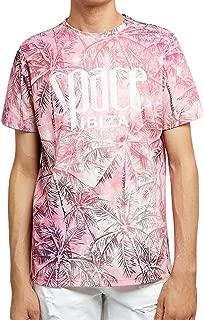 Allover Palms Mens Pink T-Shirt
