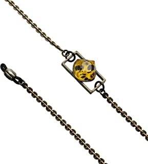 Tamarusan Eyeglasses Chain Cheetah Yellow Black Unisex Simple Animal