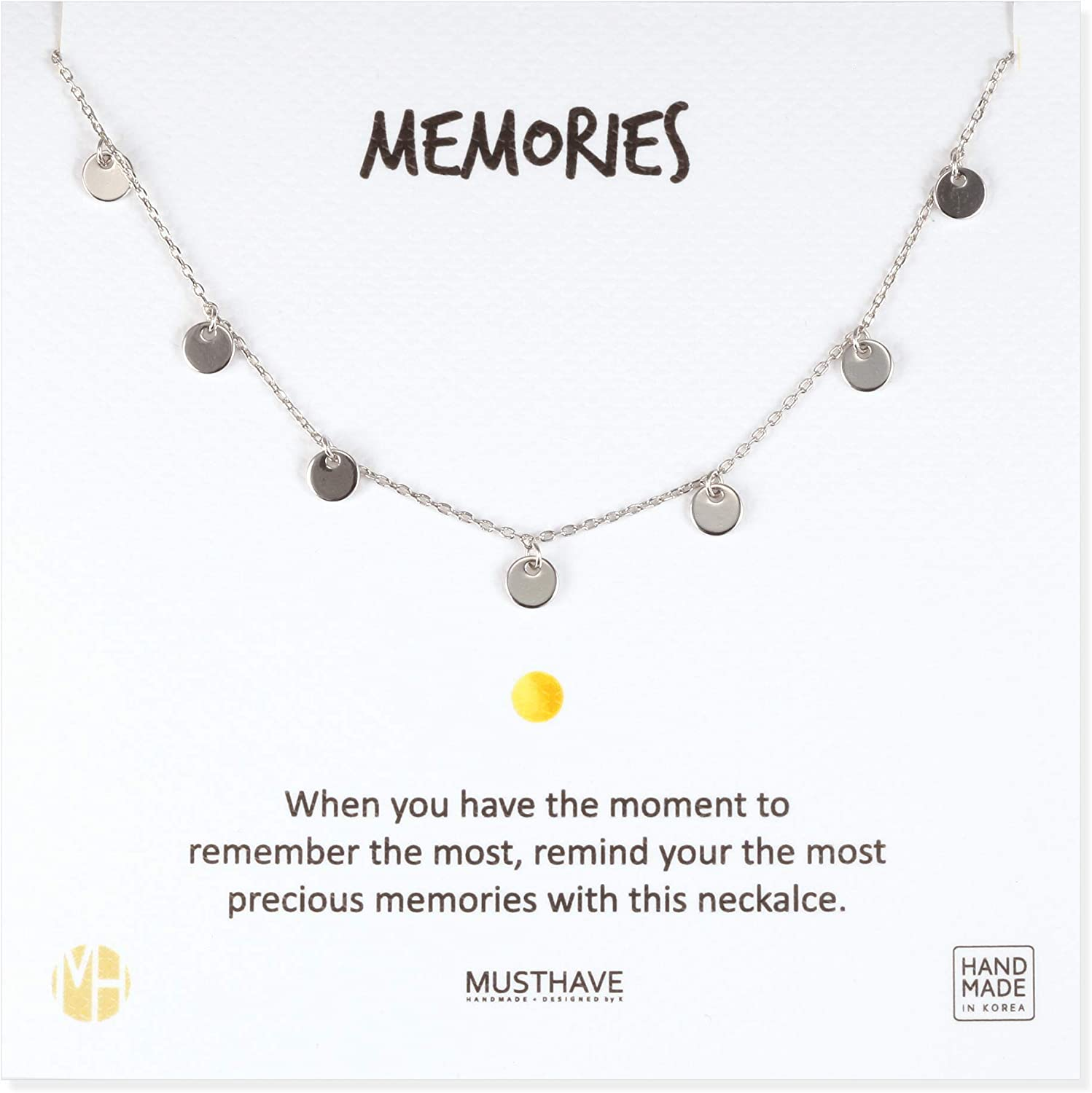 MUSTHAVE Memories Round Charm 18K Gold Plated Necklace with Message Card, Yellow and White Color, Anchor Chain, Best Gift Necklace, Size 16 inch + 2 inch Extender, Round Pendant, Gift Card