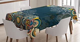 Ambesonne Psychedelic Tablecloth, Floral Bizarre Design Vintage Ornaments Leaves Paisley Pop Art Mandala Print, Rectangular Table Cover for Dining Room Kitchen Decor, 60