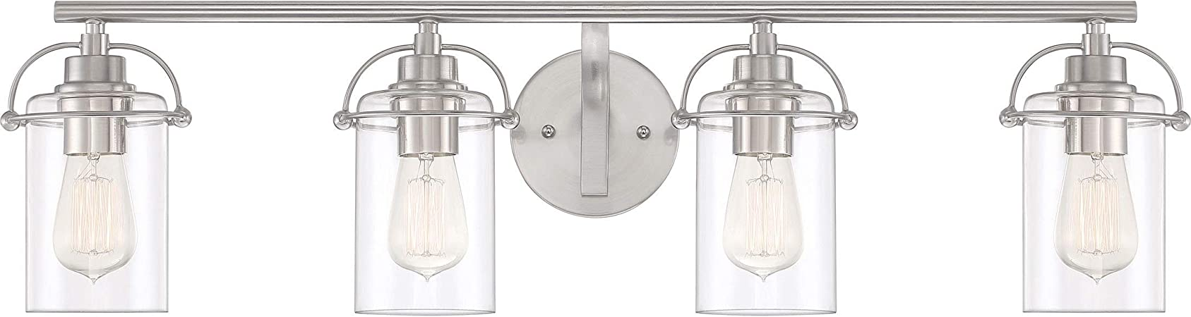 Quoizel Emr8604bn Emerson Clear Glass Vanity Wall Lighting 4 Light 400 Watts Brushed Nickel 9 H X 34 W Home Improvement
