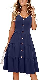Alice & Elmer Women`s Casual Beach Summer Dresses Solid Cotton Tiered Flare V-Neck Spaghetti Strap Button Down Sundress