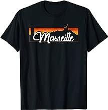 Vintage Style Retro Marseille France Sunset Skyline T-Shirt