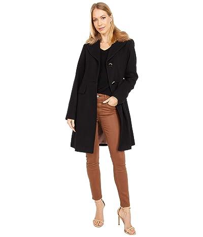 Kate Spade New York Wool Coat w/ Faux Fur Collar (Black) Women