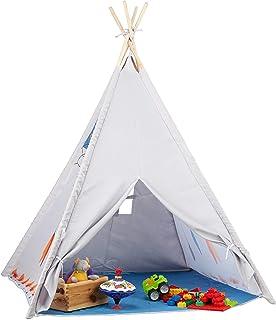 Relaxdays tipi lektält, tipi tält barnrum, barntält inomhus och utomhus, från 3, H x BxT: 155 x 125 cm, grå
