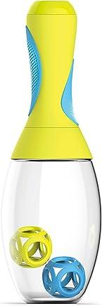 Asobu 600 ml Sambaシェーカープロテインシェイクドリンクミキサーイエロー/ブルー、9 x 9 x 27.5 cm